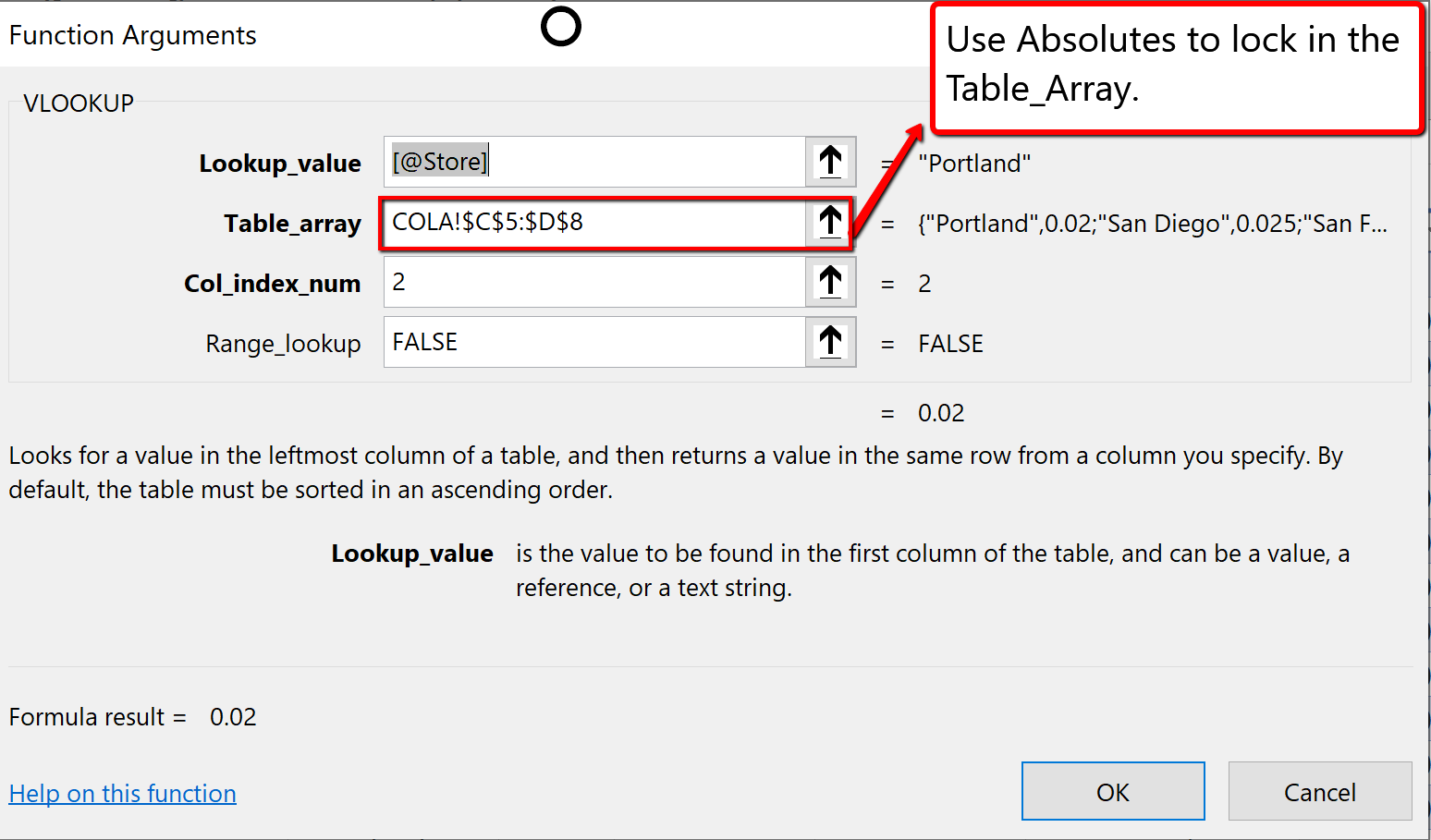 Screenshot of the VLOOKUP function argument dialogue box
