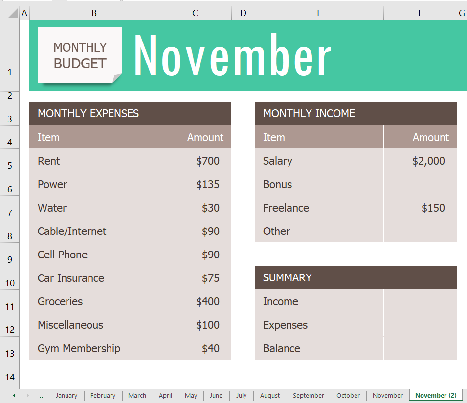 """November worksheet open and tab to right is also """"November"""" with """"(2)"""" indicating this is a copy."""