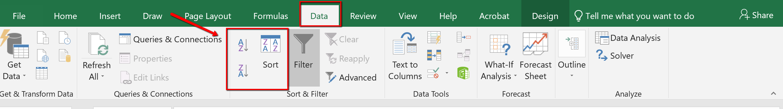 Screenshot of the Data tab sort options