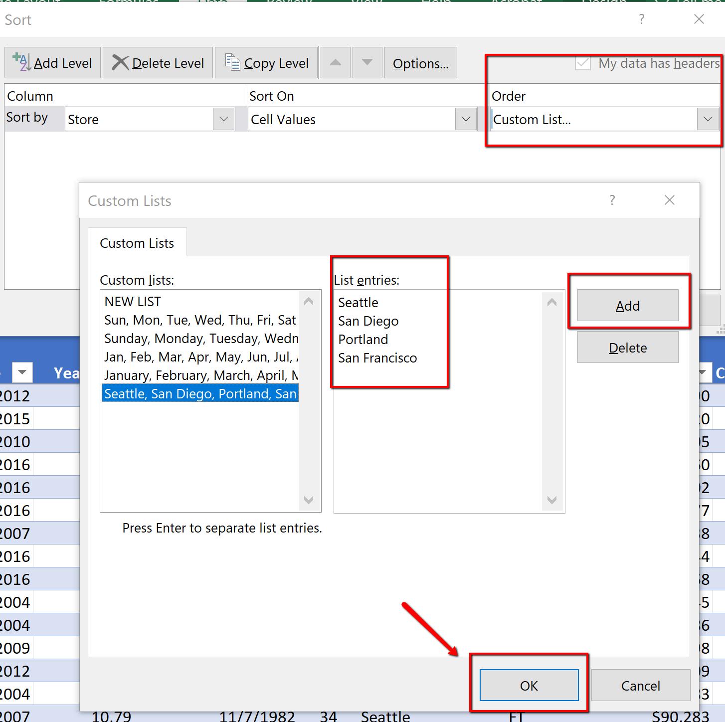 Screenshot shows the custom sort, custom list dialogue box