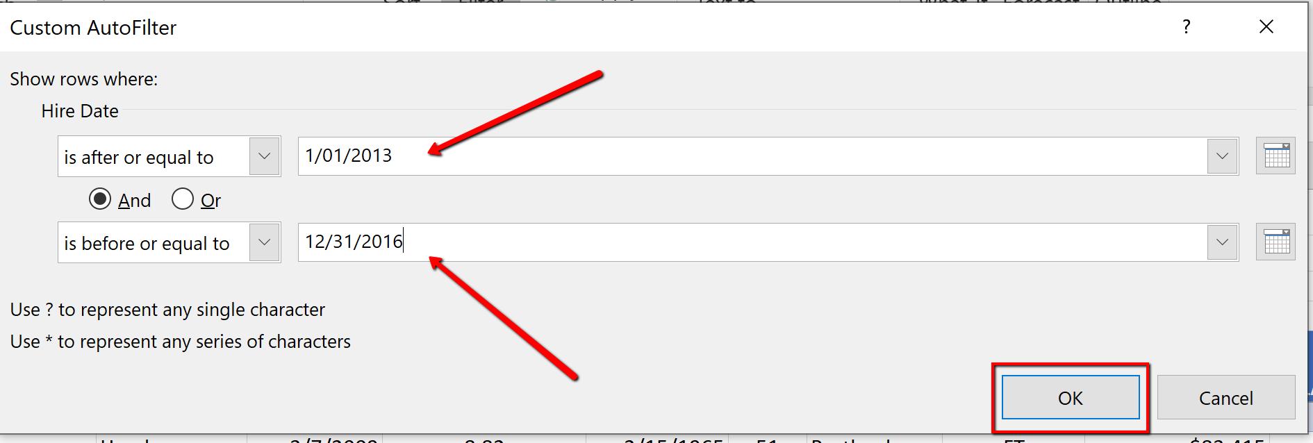 Screenshot of the Date Filter Between Dialogue Box