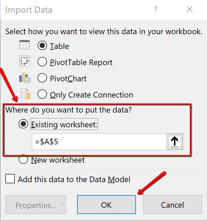 Screenshot of the Import Data dialogue box