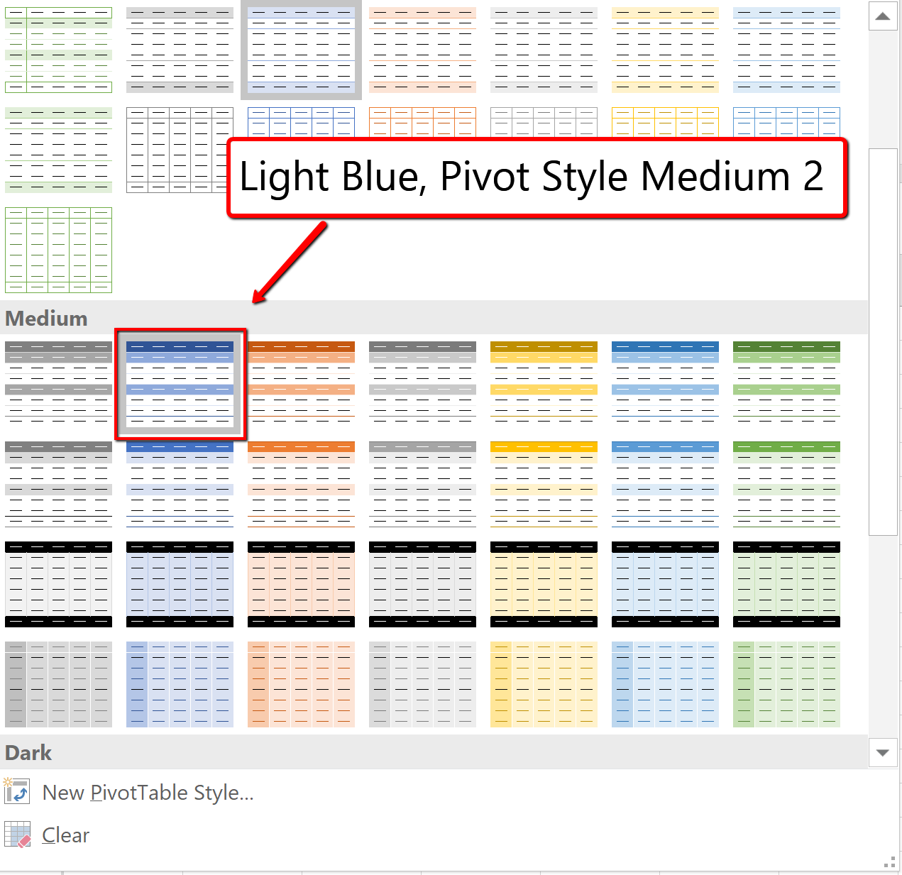 Screenshot of the PivotTable Styles Gallery
