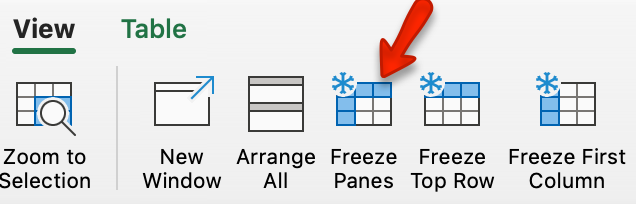 Mac Freeze Panes button