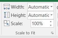 Scale to Fit options Width, Height, and Scale.