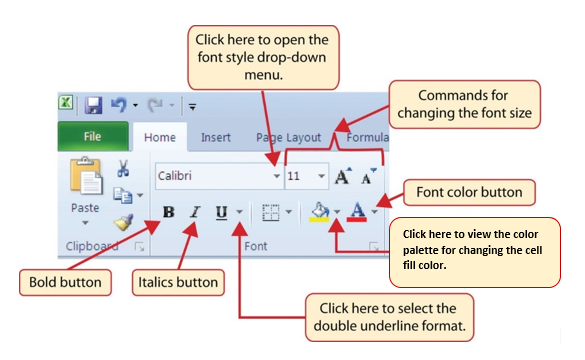 Font group of commands in Home tab containing Border button and commands such as font style, size, formatting, color, and cell fill color.
