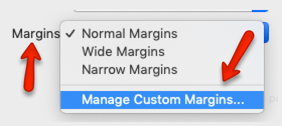 margins in print preview