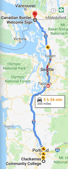 Google Map showing a 300-mile route from Clackamas Community College north to the Canadian border