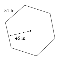 regular hexagon with side 51 in and radius to one side 45 in