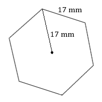 regular hexagon with side 17 mm and radius to one vertex 17 in