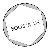 """a hexagon labeled """"bolts r us"""" inscribed in a circle"""