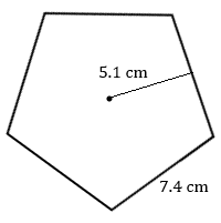 regular pentagon with side 7.4 cm and radius to one side 5.1 cm