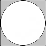 A square with a circel inscribed in it; the four regions outside the circle are shaded