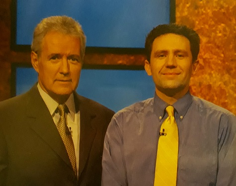 large photo of Alex Trebek and your author on Jeopardy!