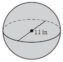 a sphere with a diameter of 11 in