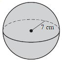 a sphere with a radius of 7 cm