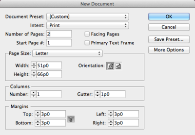 Screen capture of the InDesign® New Document dialog, showing specifications for setting up the document in this lesson. Number of pages: 2, Page Size: Letter, Columns: 1. All other settings are left at their default values.