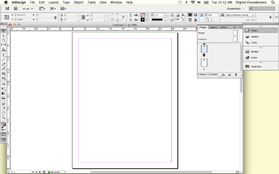 Screen capture showing the InDesign® workspace and the pages panel.
