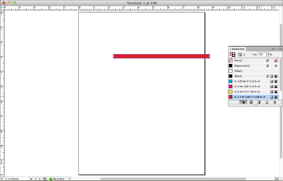 Screen capture showing a line set to a weight of 20 points and color set using the red color swatch.