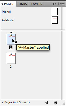 Screen capture showing A-Master applied to both pages in the document.