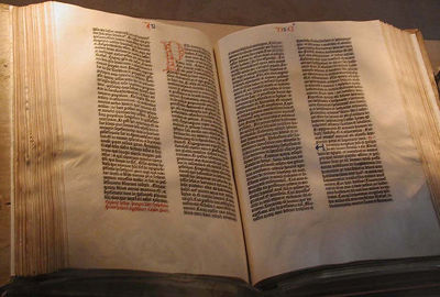 Photograph of a copy of the Gutenberg Bible