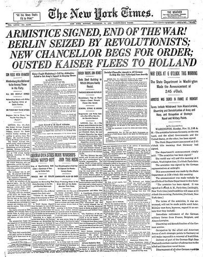 The front page of the NY Times, 1918.