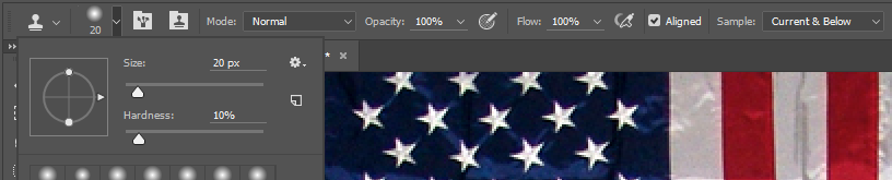 Screencapture showing Clone Stamp Tool Options in the Photoshop® Options Panel.
