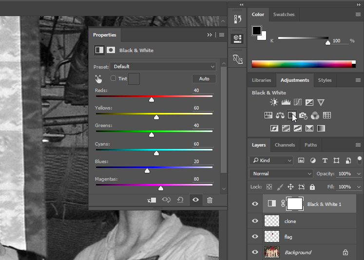 Screen capture showing Black & White Adjustment Layer Properties panel.
