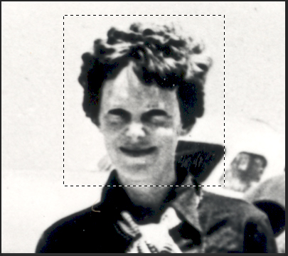 Image of Amelia Earhart with a rectangular marquee selection around her head.