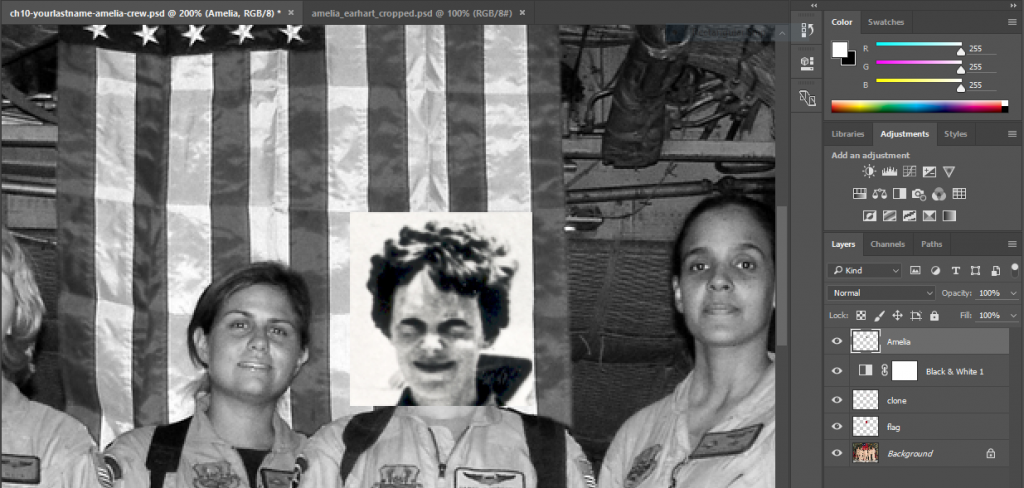 Screen capture of Photoshop® showing Amelia Earhart's head added as a layer in the C-130 crew photo.