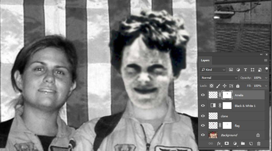 Image showing completed layer mask, blending Amelia Earhart's image into the crew photo.