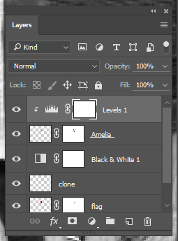Screen capture of the Photoshop® Layers panel with a new Levels Adjustment layer added.