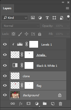 Screen capture of Layers panel showing three layers selected.