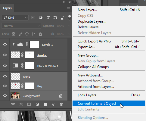 "Screen capture of Layers Panel with menu displayed and ""Convert to Smart Object"" selected."