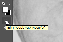 Screen capture of Quick Mask button in the Adobe® Photoshop® Tools panel.