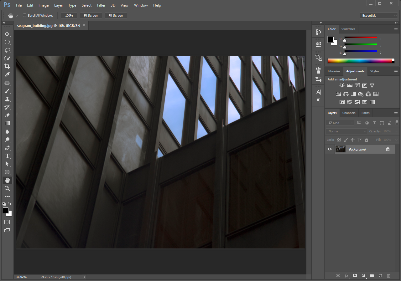 Image of Segram building open in Photoshop®