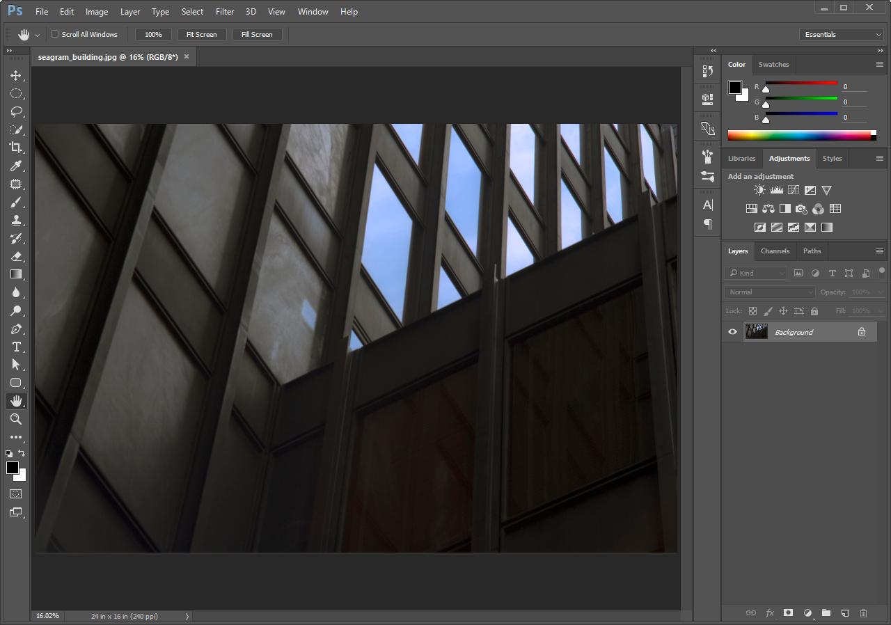 Image of Segram building open in Photoshop®