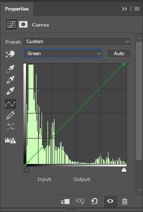 Properties panel showing adjustments to the image's green channel.