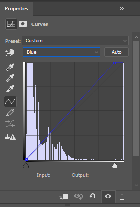 Properties panel showing adjustments to the image's blue channel.