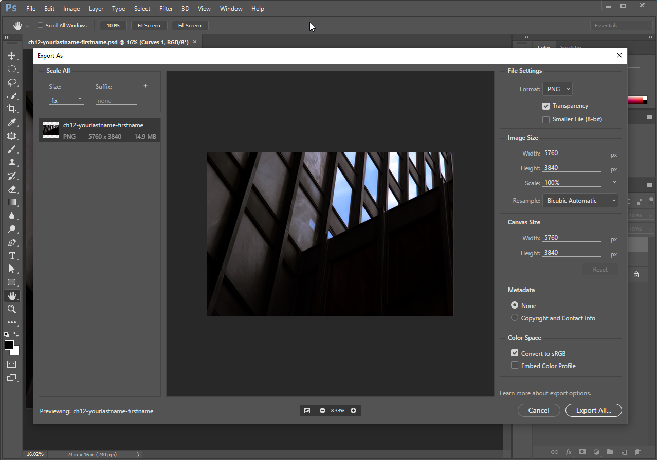 Exporting the adjusted image using the Export As dialog.