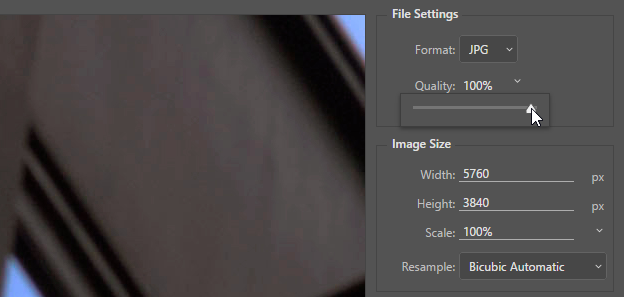 Screen capture showing adjustment of the Export As JPEG Quality slider.