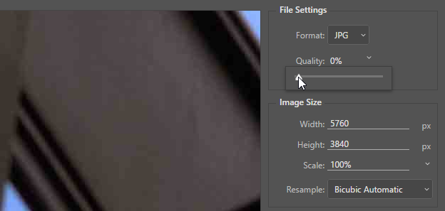Screen capture showing the Export As JPEG Quality slider set to 0%