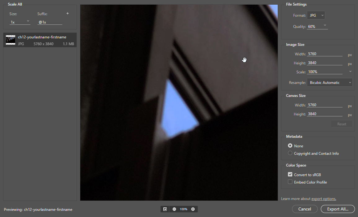Screen capture showing the Export As dialog with a JPEG quality setting of 60%.