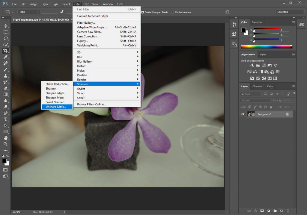 Screencapture showing how to access the Unsharp Mask filter from the Photoshop® Filters menu.
