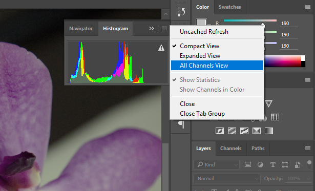"Screenshot showing closeup view of the Adobe® Photoshop® Histogram panel with its menu open and ""All Channels View"" selected."