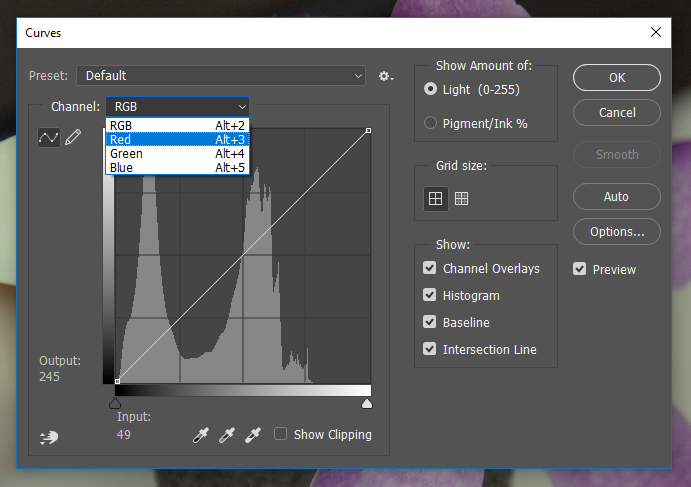 Screencapture of the Adobe® Photoshop® Curves Adjustment dialog box, consisting of a histogram with controls to adjust dark, midtone, and light values in an image.