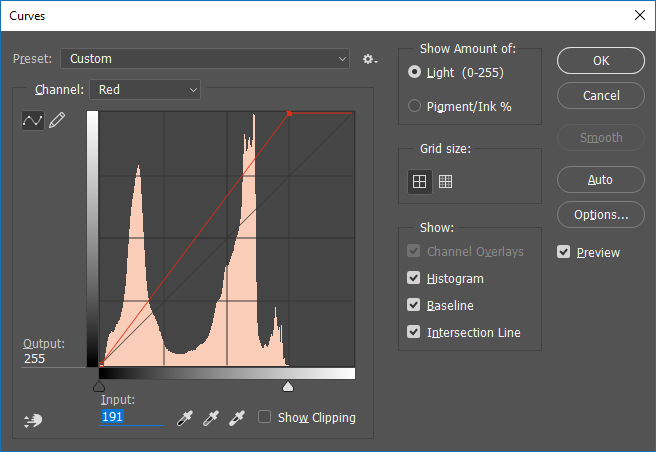 Screencapture of the Adobe® Photoshop® Curves adjustment dialog box, set to adjust the Red channel.