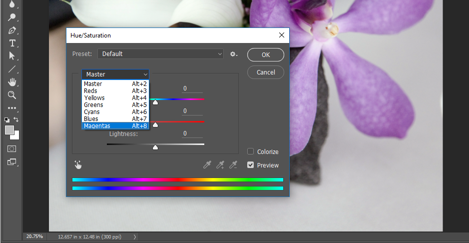 "Screencapture showing Hue/Saturation adjustment dialog box with ""Magentas"" being selected from a drop-down menu for the target hues."