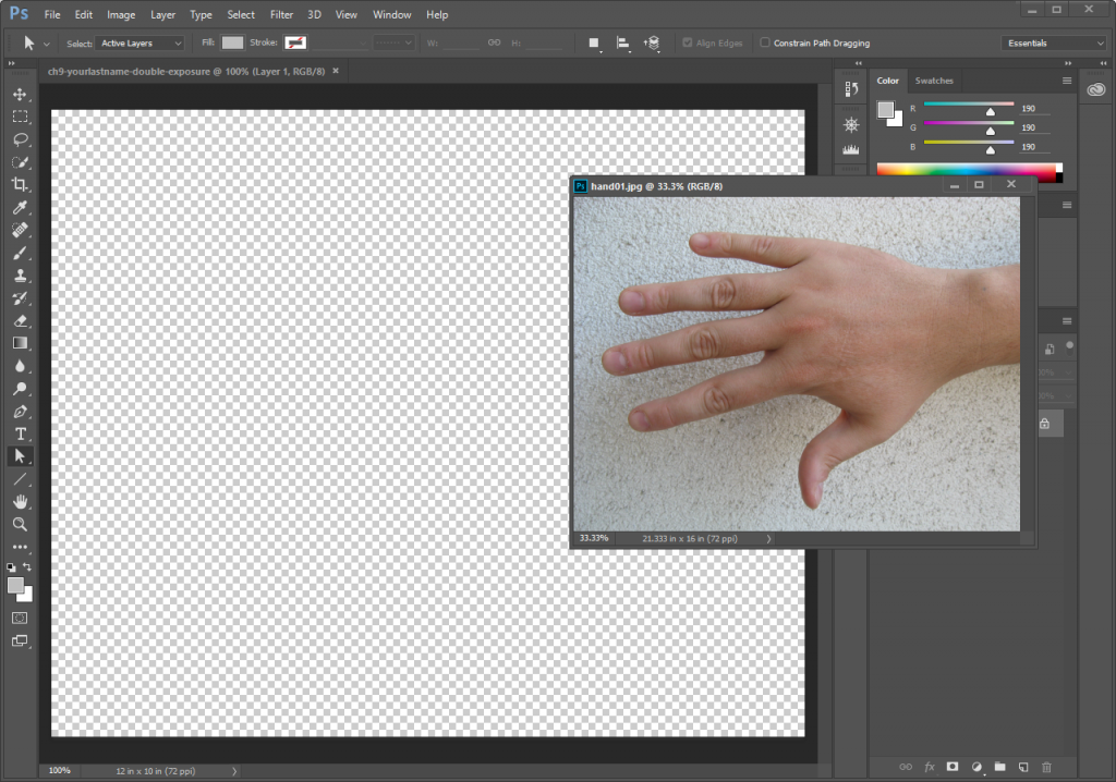 Screencapture showing two documents open in Adobe® Photoshop®. One is a new blank canvas displayed in the main editing area, the other is an image of a hand that is overlapping the main application window.