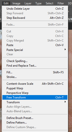 "Screencapture showing the Adobe® Photoshop® Edit menu with ""Free Transform"" selected."